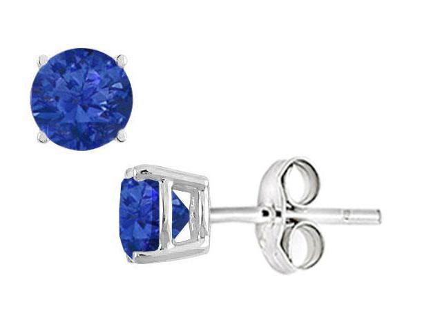 Diffuse Sapphire Stud Earrings in Sterling Silver 2.00 Carat Total Gem Weight