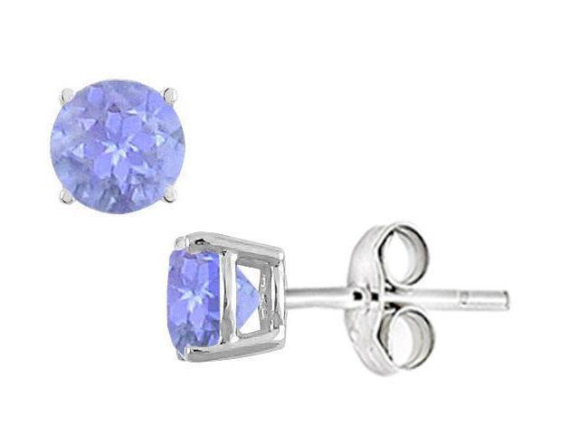 Created anzanite Stud Earrings in Sterling Silver 2.00 CT TGW