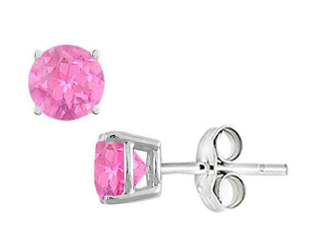 Created Pink Sapphire Stud Earrings in Sterling Silver 2.00 CT TGW