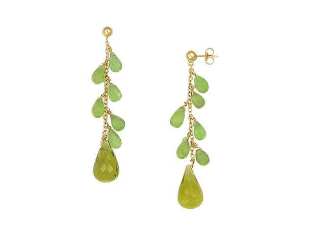 Peridot and Lemon Quartz Earrings  14K Yellow Gold - 25.00 CT TGW