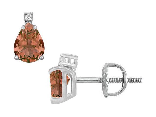 Diamond and Smoky Topaz Stud Earrings  14K White Gold - 2.04 CT TGW