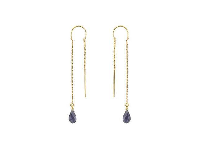 Iolite Thread Earrings  14K Yellow Gold - 2.00 CT TGW