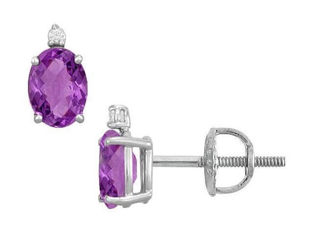 Diamond and Amethyst Stud Earrings  14K White Gold - 2.04 CT TGW