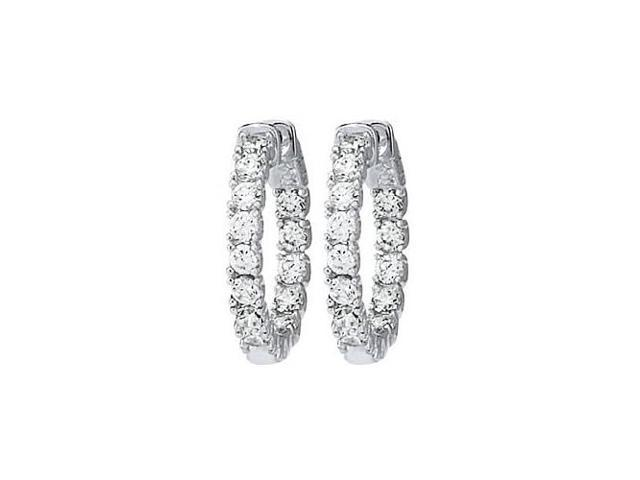 CZ 24mm Round Prong.10 Inside Out Hoop Earrings in White Rhodium over Sterling Silver