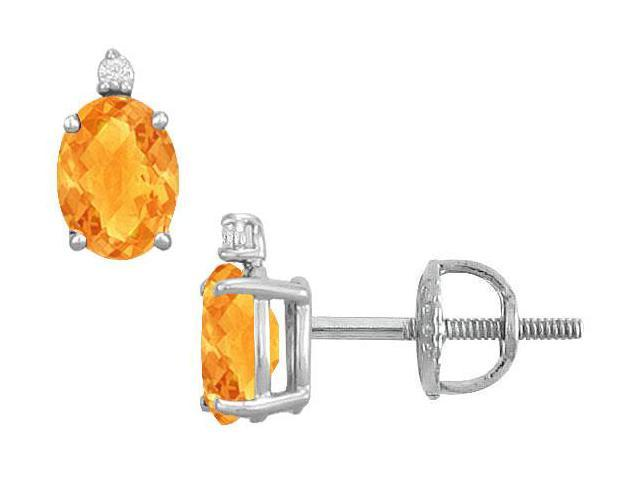 Diamond and Citrine Stud Earrings  14K White Gold - 2.04 CT TGW