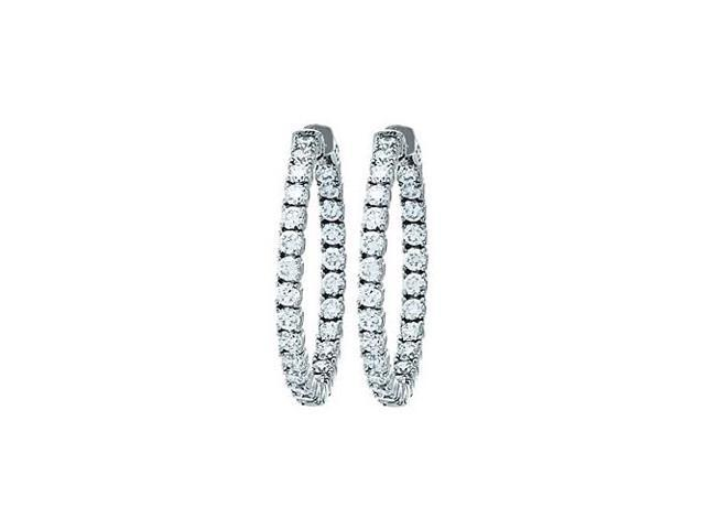 CZ 35mm Round Prong.10 Inside Out Hoop Earrings in White Rhodium over Sterling Silver