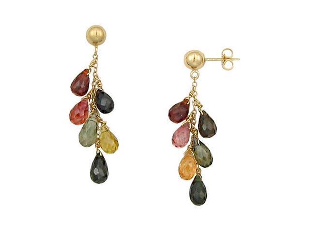 Multicolor Gemstone Drop Earrings  14K Yellow Gold - 6.00 CT TGW