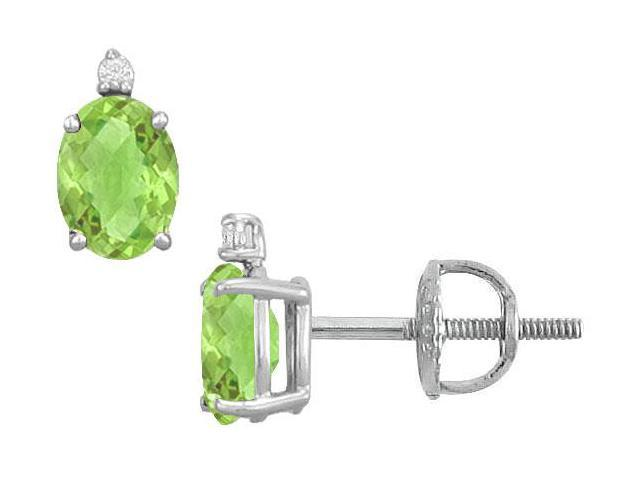 Diamond and Peridot Stud Earrings  14K White Gold - 2.04 CT TGW