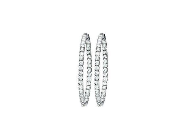 CZ 49mm Round Prong.10 Inside Out Hoop Earrings in White Rhodium over Sterling Silver