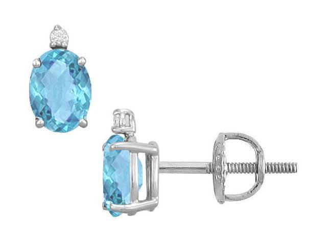 Diamond and Blue Topaz Stud Earrings  14K White Gold - 2.04 CT TGW