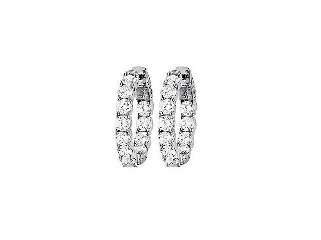 CZ 23mm Round Prong.15 Inside Out Hoop Earrings in White Rhodium over Sterling Silver
