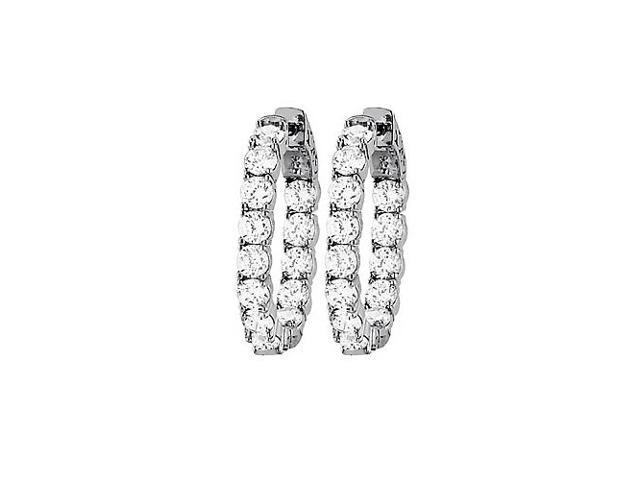 CZ 30mm Round Prong.15 Inside Out Hoop Earrings in White Rhodium over Sterling Silver