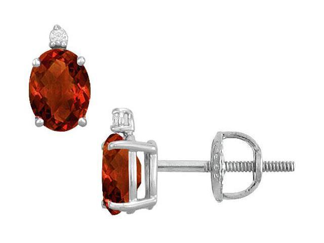 Diamond and Garnet Stud Earrings  14K White Gold - 2.04 CT TGW