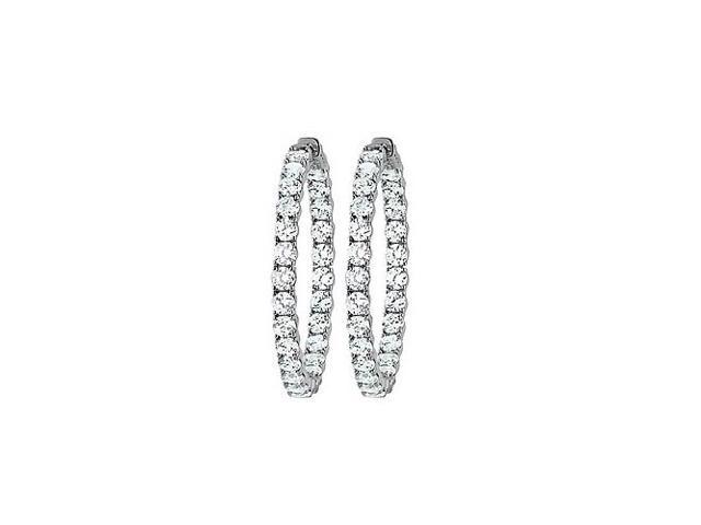 CZ 39mm Round Prong.15 Inside Out Hoop Earrings in White Rhodium over Sterling Silver