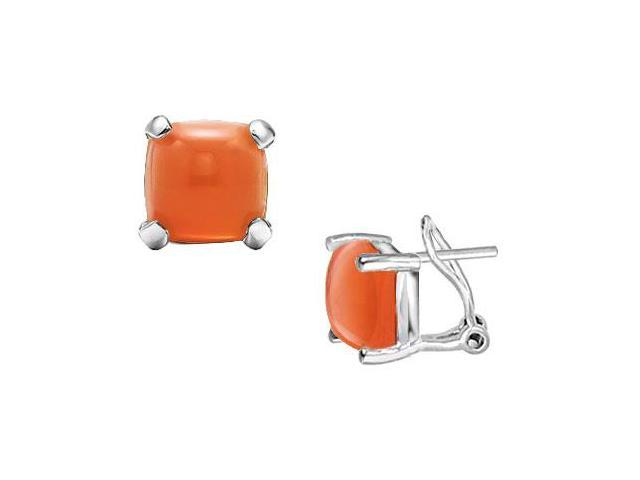 Orange Chalcedony Earrings  14K White Gold - 10.00 CT TGW