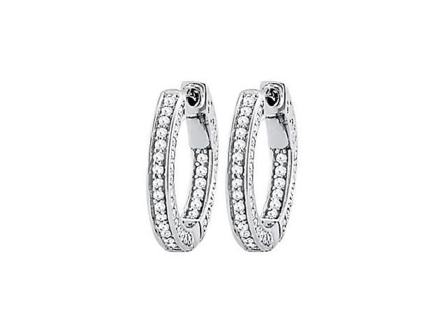 CZ 20mm 3 Sided Inside Out Hoop Earrings in White Rhodium over Sterling Silver