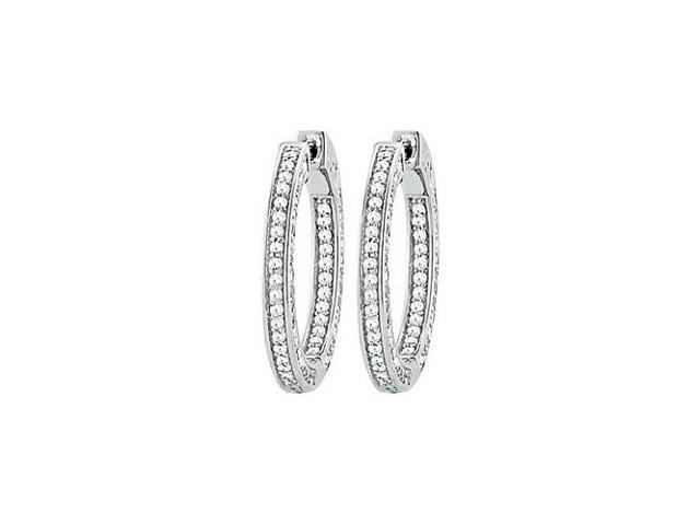 CZ 26mm 3 Sided Inside Out Hoop Earrings in White Rhodium over Sterling Silver
