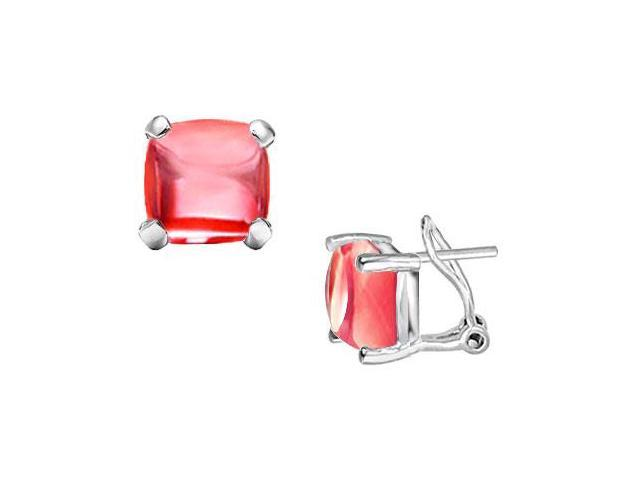 Red Chalcedony Earrings  14K White Gold - 10.00 CT TGW