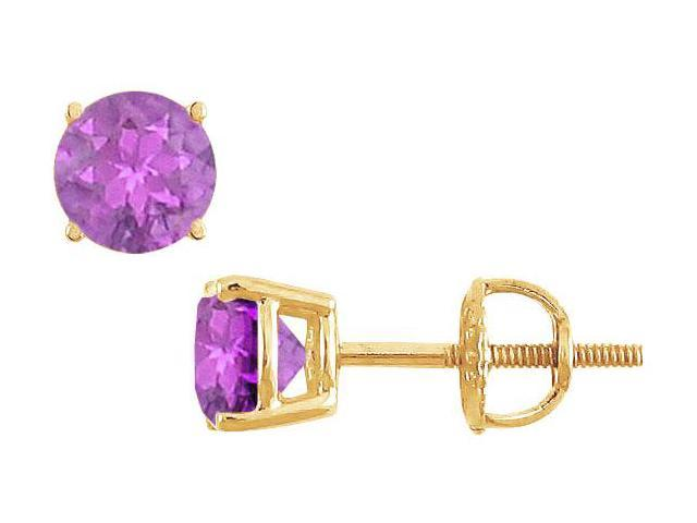 Amethyst Stud Earrings  14K Yellow Gold - 2.00 CT TGW