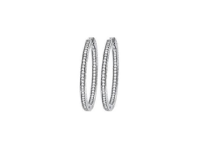 CZ 36mm 3 Sided Inside Out Hoop Earrings in White Rhodium over Sterling Silver