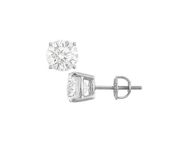 14K White Gold  Round Cubic Zirconia Stud Earrings  2.00 CT. TGW.