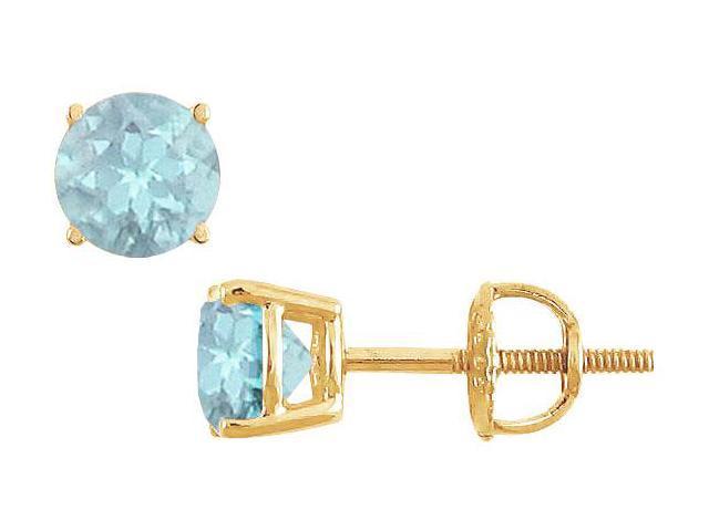 Aquamarine Stud Earrings  14K Yellow Gold - 2.00 CT TGW