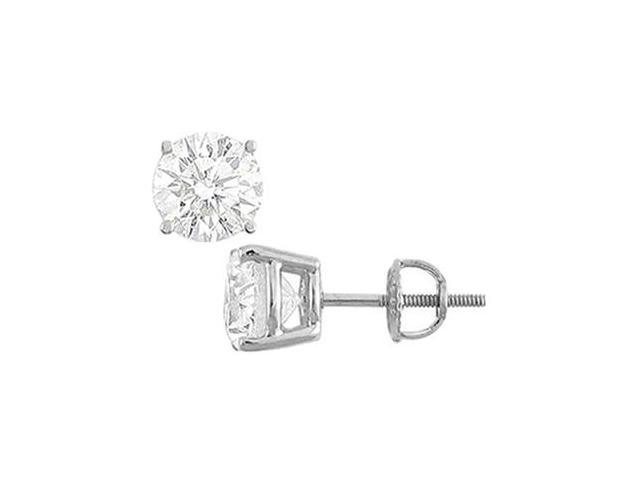 14K White Gold  Round Cubic Zirconia Stud Earrings  3.00 CT. TGW.
