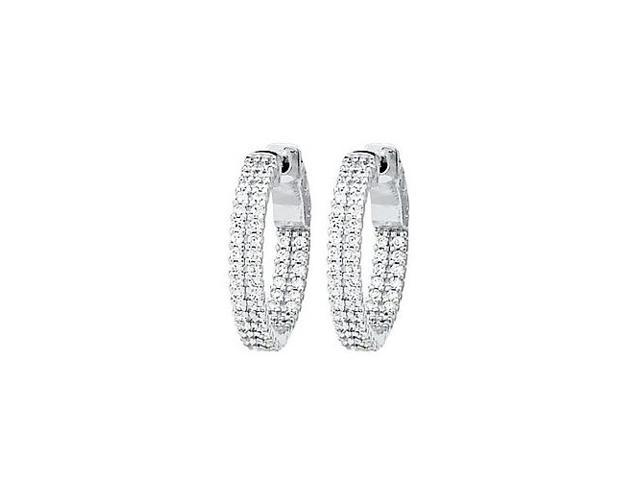 CZ 21mm 2 Sided Inside Out Hoop Earrings in White Rhodium over Sterling Silver
