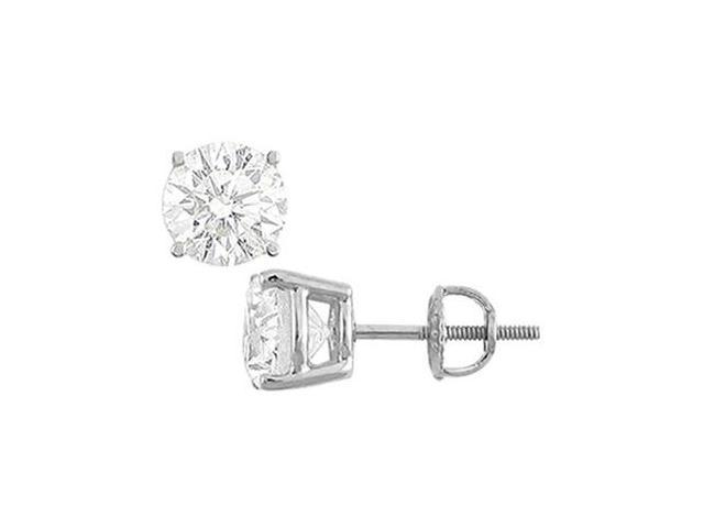 14K White Gold  Round Cubic Zirconia Stud Earrings  4.00 CT. TGW.