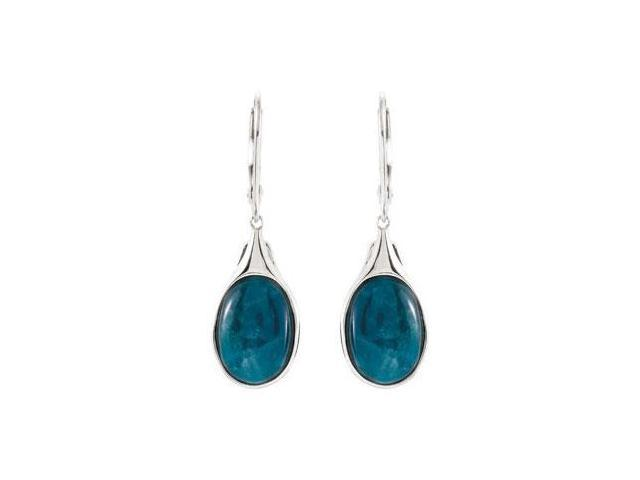Sterling Silver Genuine Opaque Apatite Pair 14.00 X 10.00 MM Earrings - 3.35 CT TGW
