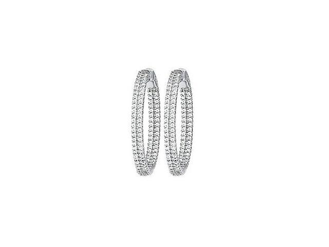 CZ 31mm 2 Sided Inside Out Hoop Earrings in White Rhodium over Sterling Silver