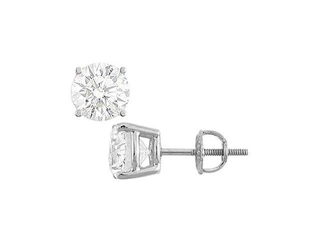 14K White Gold  Round Cubic Zirconia Stud Earrings  5.00 CT. TGW.