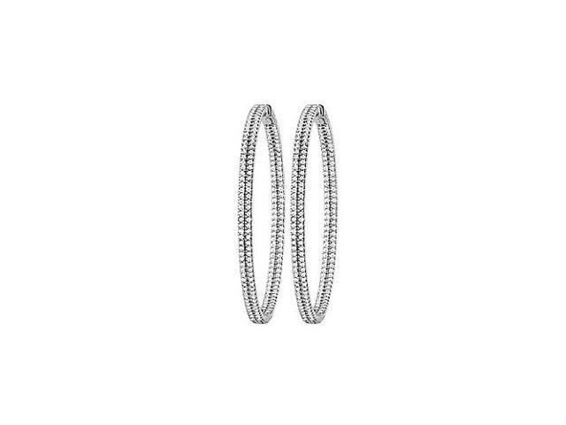 CZ 54mm 2 Sided Inside Out Hoop Earrings in White Rhodium over Sterling Silver