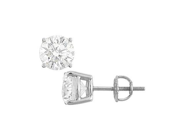 14K White Gold  Round Cubic Zirconia Stud Earrings  6.00 CT. TGW.