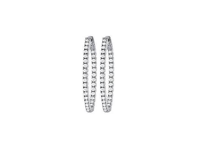 CZ 35mm Oval Prong Set Inside Out Hoop Earrings in White Rhodium over Sterling Silver