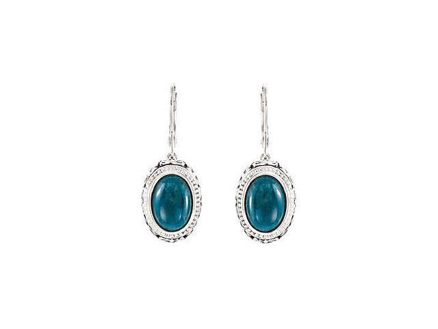 Sterling Silver Genuine Opaque Apatite Earrings - Pair 13.00 X 09.00 MM