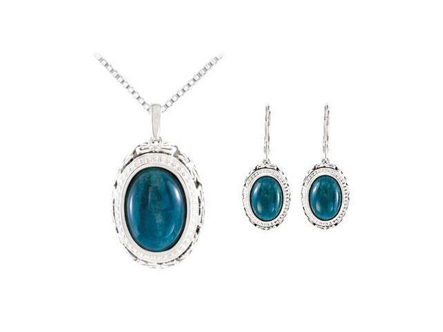 Sterling Silver Genuine Opaque Apatite Earrings and Pendant Set - Pair 13.00 X 09.00 MM and 15.0