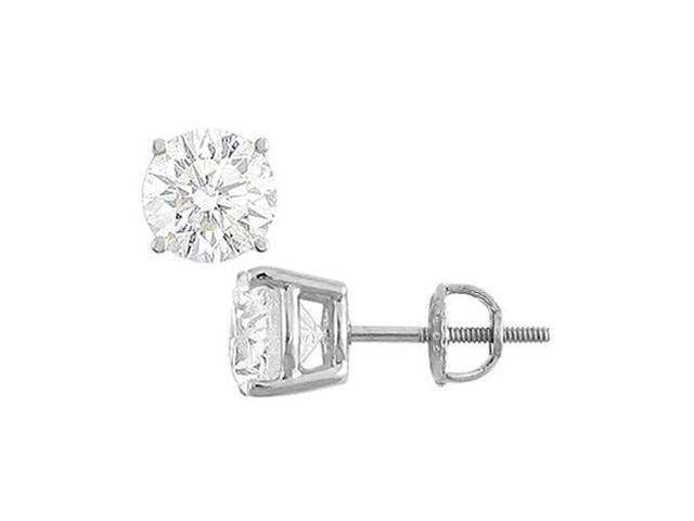 14K White Gold  Round Cubic Zirconia Stud Earrings  8.00 CT. TGW.