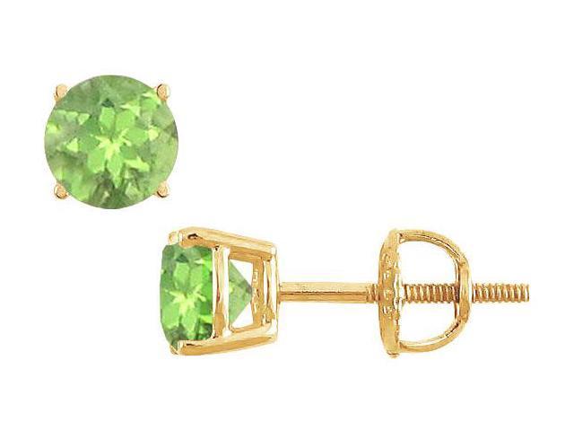 Peridot Stud Earrings  14K Yellow Gold - 2.00 CT TGW