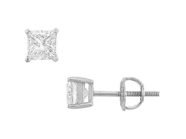 14K White Gold  Princess Cubic Zirconia Stud Earrings  1.00 CT. TGW.