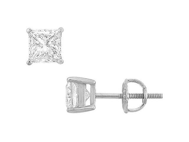 14K White Gold  Princess Cubic Zirconia Stud Earrings  2.00 CT. TGW.