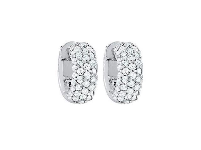 CZ 5 Row Petite Vault Lock Earrings in White Rhodium Over Sterling Silver