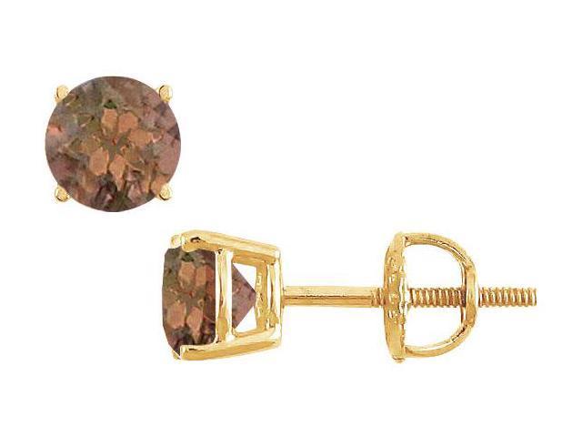 Smoky Topaz Stud Earrings  14K Yellow Gold - 2.00 CT TGW