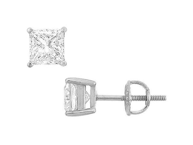 14K White Gold  Princess Cubic Zirconia Stud Earrings  3.00 CT. TGW.
