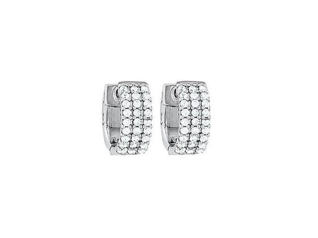 CZ 3 Row Petite Vault Lock Earrings in White Rhodium Over Sterling Silver