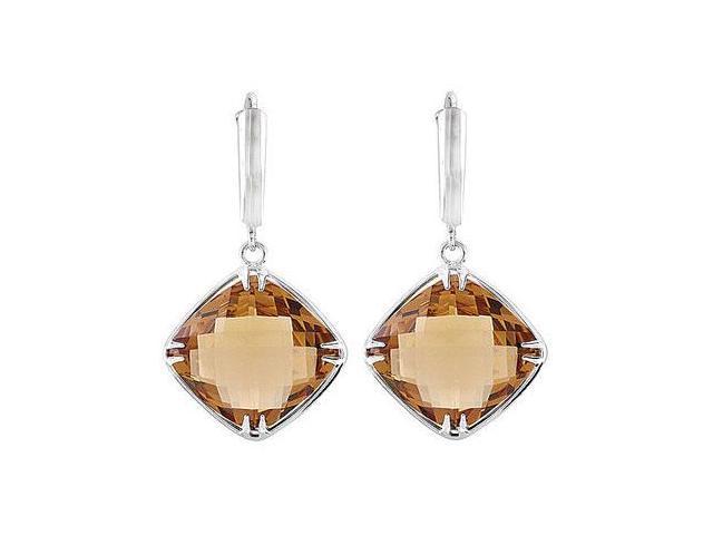 Sterling Silver Genuine Honey Quartz Earrings - Pair 14.00 X 14.00 MM