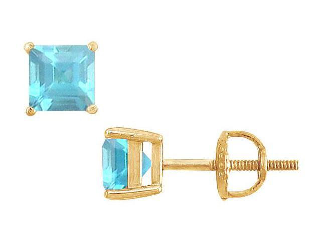 Aquamarine Stud Earrings  14K Yellow Gold - 2.00 CT TGW