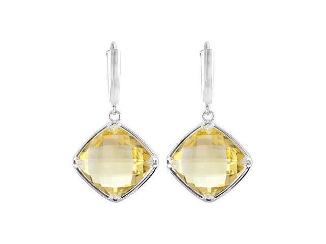 Sterling Silver Genuine Lemon Quartz Earrings - Pair 14.00 X 14.00 MM