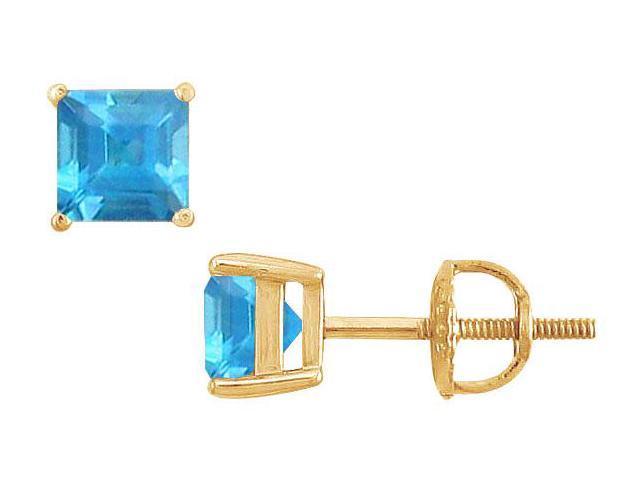Blue Topaz Stud Earrings  14K Yellow Gold - 2.00 CT TGW