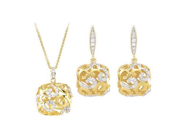 Cubic Zirconia and Sterling Silver Yellow Gold Plated Necklace with Pair Push Back Earrings Set